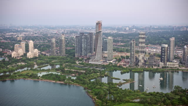 AERIAL Condominium towers in Humber Bay, Etobicoke, Toronto, Ontario
