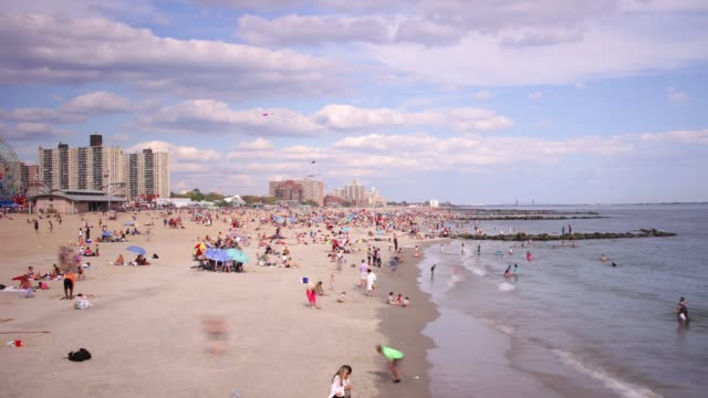 coney island beach 4k time lapse from brooklyn new york city video