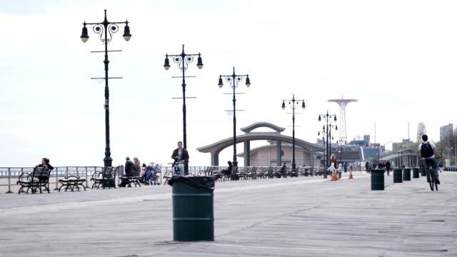 Coney Island Boardwalk afternoon establishing shot video