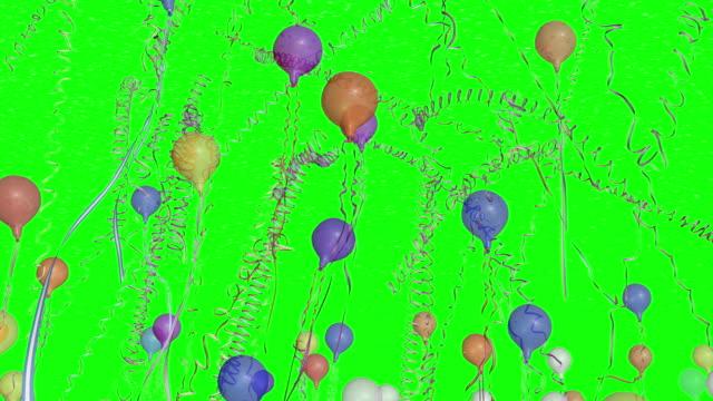 Confeti globos Banderolas con desenfoque - vídeo