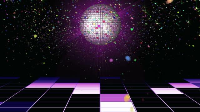 confetti disco ball background loop - dansbana bildbanksvideor och videomaterial från bakom kulisserna