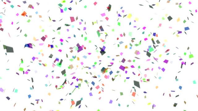 konfetti explosion mehrfarbig - luftschlangen und konfetti stock-videos und b-roll-filmmaterial