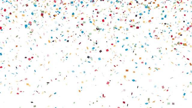 Confetti falling on white background