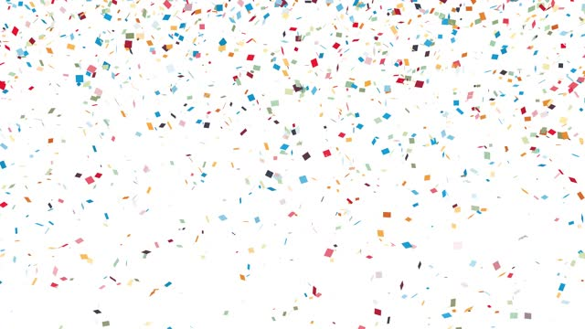Confetti falling on white background