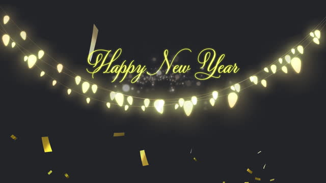 Confetti falling over Happy New Year text against black background Animation of Happy New Year text with glowing fairy lights and gold confetti falling. New Years Eve celebration festivity concept digitally generated image. happy new year 2021 stock videos & royalty-free footage