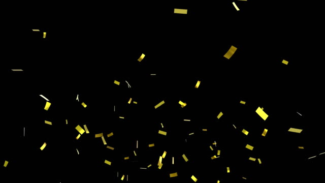Confetti falling Digital animation of gold confetti falling against a black background confetti stock videos & royalty-free footage
