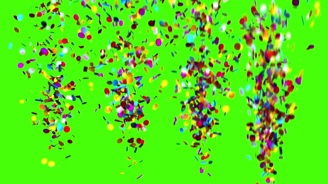 confetti party popper explosions on a green background, two options. 3d animation, full hd 1080. - petardo video stock e b–roll