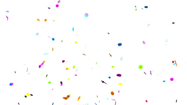 Confetti Party Popper Explosions on a Green Background