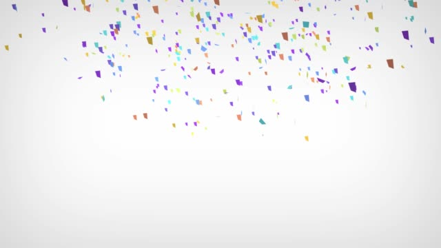 Confetti Party Popper Explosions on a White Background. 3d animation, 4K