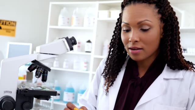 Confident African American female scientist records research findings