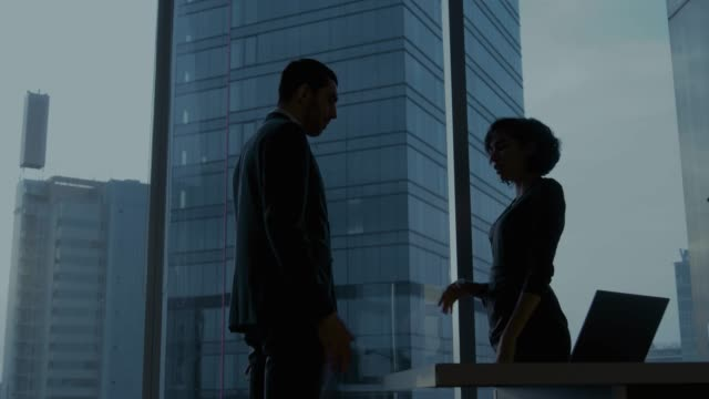Confident Businesswoman and Businessman Talking and Negotiating in the Office, Developing Business Solution, Coming to Agreement on a Contract and Shaking Hands. They're Looking out of Window with Big City Business District View.