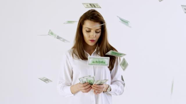 Confident Businesswoman Counting Money