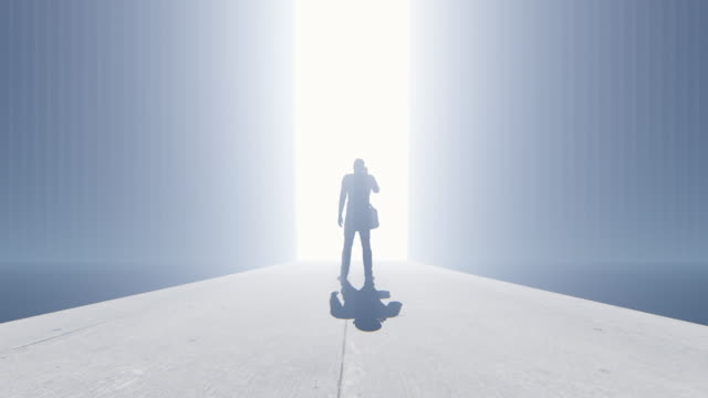 Confident casual man talking to a mobile phone looking towards a bright future, 4K