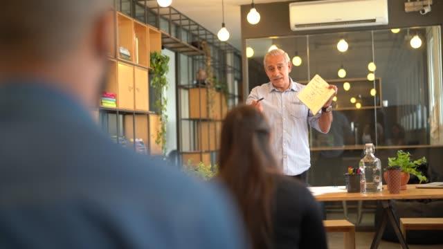 trygg chefs ledare som presenterar ett nytt projekt - kommunikationssätt bildbanksvideor och videomaterial från bakom kulisserna