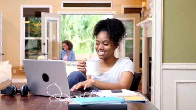 Confident female college student uses laptop at home Teenage girl smiles and laughs as she uses laptop at home. She is video chatting with a friend are scrolling through social media. Her mom is in the background. student life stock videos & royalty-free footage
