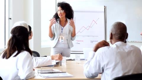 vídeos y material grabado en eventos de stock de representante de ventas médico mujer seguro se reúne con el personal del hospital - liderazgo