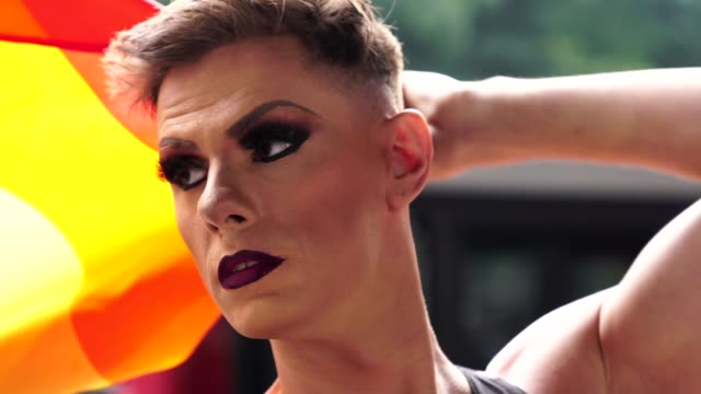 Confident Gay Boy Holding Rainbow Flag Drag Queen pride stock videos & royalty-free footage