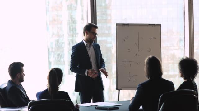 relatore maschile fiducioso che presenta idee di progetto aziendale vicino alla lavagna a fogli mobili. - concentrazione video stock e b–roll