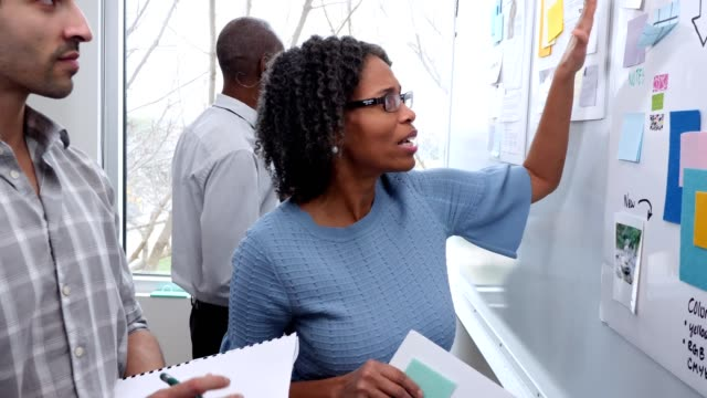 Confident mature businesswoman presents ideas to colleagues Mature African American businesswoman gestures toward items on an idea board. She is discussing her ideas with two male colleagues. The colleagues attentively listen as she discusses and points to different items on the idea board. whiteboard visual aid stock videos & royalty-free footage