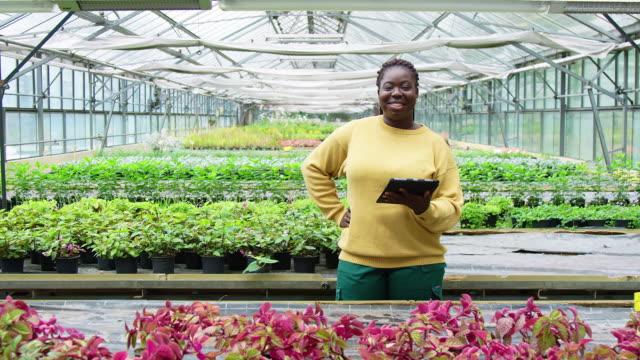 donna sicura di sé con tablet digitale in serra - sostenibilità video stock e b–roll