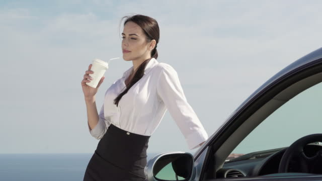 Confident young business woman stands near her car against the sky video