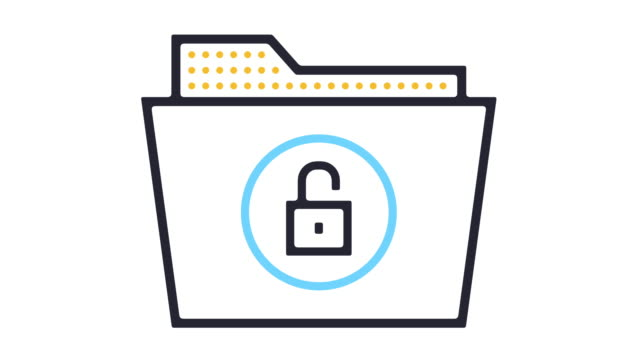 Confidentiality Icon Animation Thin line animation of secure file icon on white background. padlock stock videos & royalty-free footage