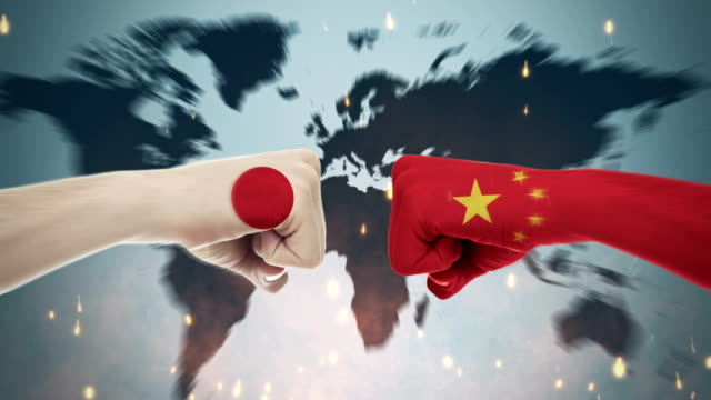 Conflict between male fists - governments conflict concept, Japan and China, Flags Conflicts Between Countries Animation domination stock videos & royalty-free footage