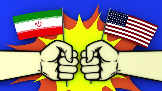 Conflict between USA and Iran. Animation of the impact with his fists