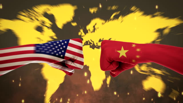4K Conflicts Between Countries - America and China - Green Screen Conflicts Between Countries Animation international match stock videos & royalty-free footage