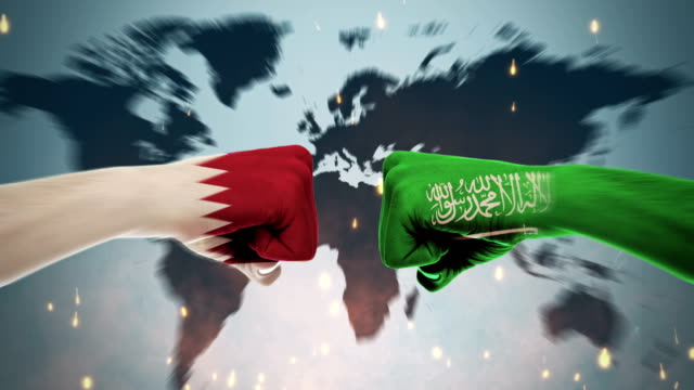 4K Conflicts Between Countries - Qatar and Saudi Arabia Conflicts Between Countries Animation international match stock videos & royalty-free footage
