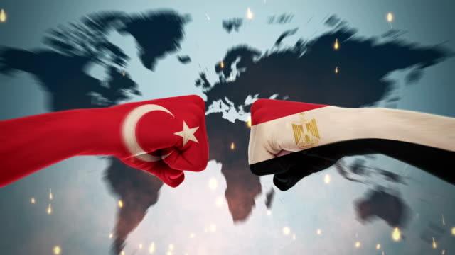 4k konflikte zwischen den ländern - türkei und ägypten - dominanz stock-videos und b-roll-filmmaterial