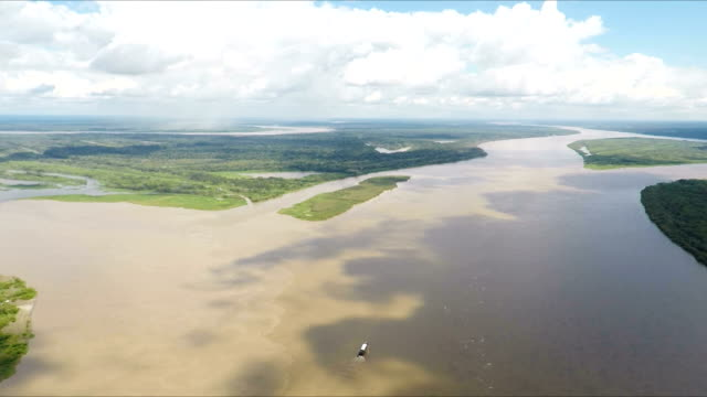 Confluence of the Amazon, Maranon and Ucayali River, Peru, South America video