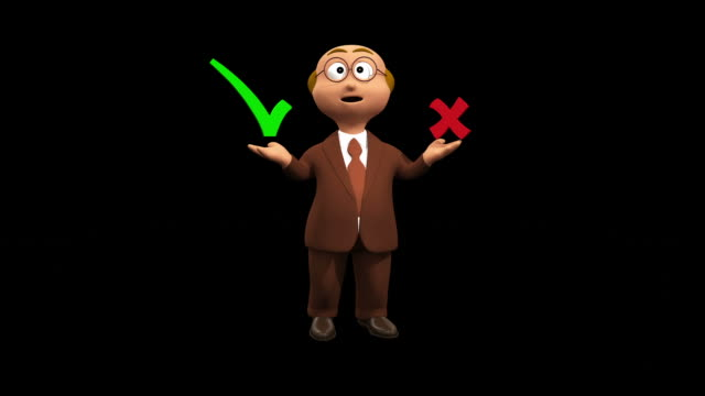 Confused 3D Businessman Character Yes Or No ? - Alpha video