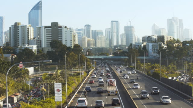Congested traffic with city skyline video