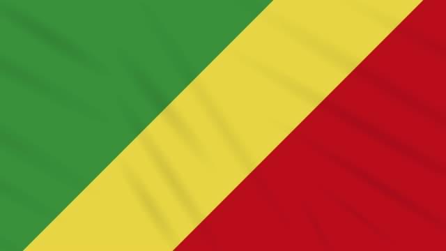 Congo flag waving cloth background, loop video
