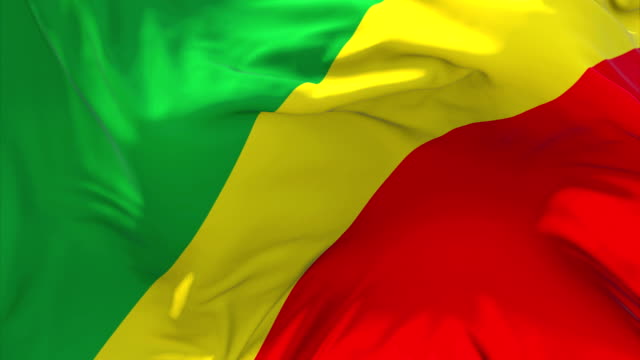 Congo Republic of the Flag Waving in Wind Slow Motion Animation . 4K Realistic Fabric Texture Flag Smooth Blowing on a windy day Continuous Seamless Loop Background. video