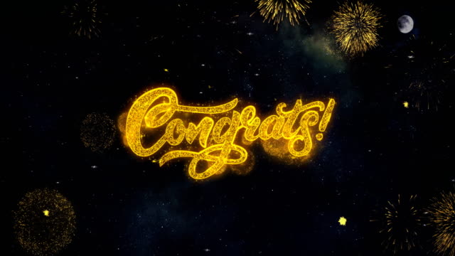 congrats_2 text will reveal from firework particles grußkarte. - gratulieren stock-videos und b-roll-filmmaterial