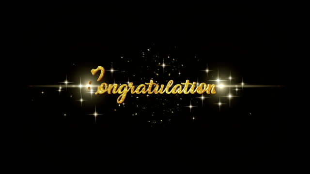 Congratulations Beautiful golden greeting Text Appearance from blinking particles with golden fireworks background. video