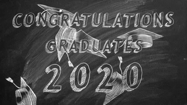 Congratulations graduates.  2020. Hand drawing text