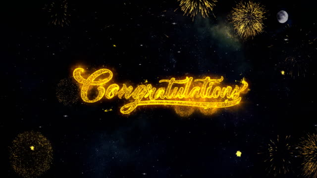 congratulations  text wishes reveal from firework particles greeting card. - graduation filmów i materiałów b-roll
