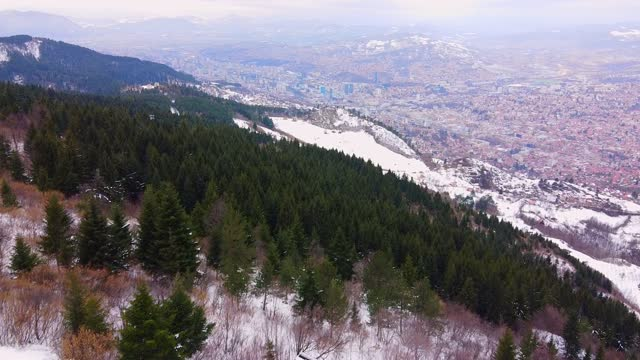 Coniferous forest on snowy mountain slope against historical city with red roof buildings under cloudy sky in winter aerial view