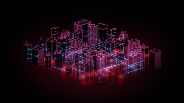 Connected City Graphic Animation - Neon