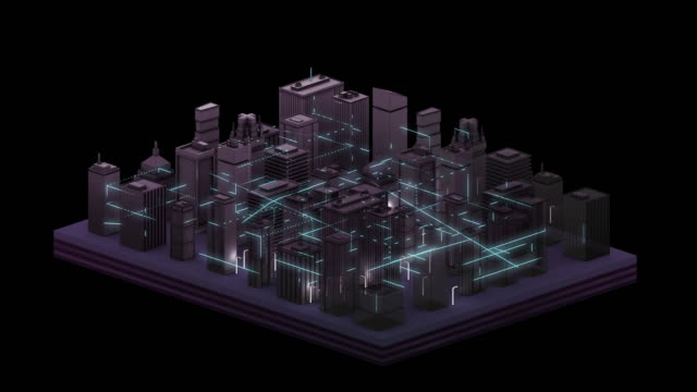 Connected City Graphic Animation - Night
