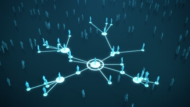 Connected People (Dark, Blue) - Social Media, Networking - Coronavirus, Epidemiology, Infectious Disease