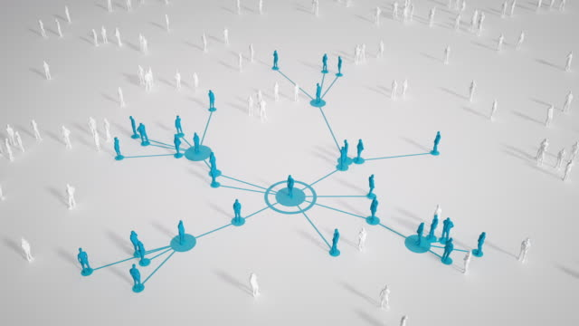 Connected People (Bright, Blue) - Social Media, Networking - Coronavirus, Epidemiology, Infectious Disease Abstract depiction of a group of connected people. Perfectly usable for a wide range of different topics like social media, business relationships and networking, a spreading virus or epidemiology in general. virus stock videos & royalty-free footage