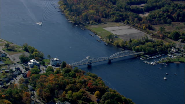 Connecticut River And East Haddam Bridge  - Aerial View - Connecticut,  Middlesex County,  United States video