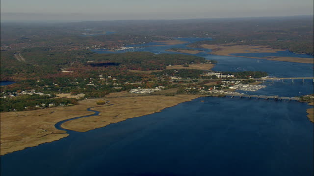Connecticut River Estuary  - Aerial View - Connecticut,  Middlesex County,  United States video