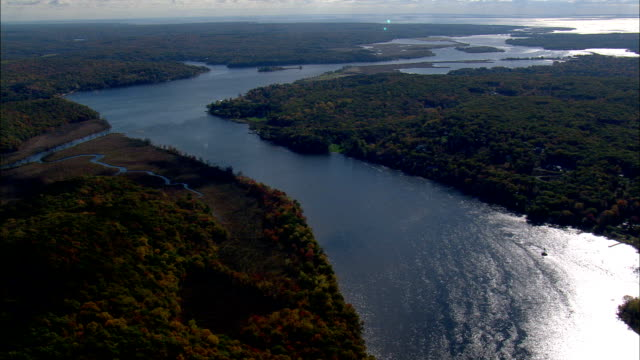 Connecticut River North Of Essex Village  - Aerial View - Connecticut,  Middlesex County,  United States video