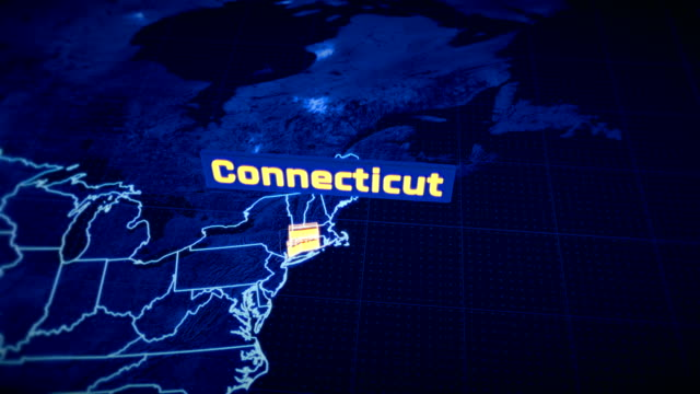 US Connecticut state border 3D visualization, modern map outline, travel US Connecticut state border 3D visualization, modern map outline, travel connecticut stock videos & royalty-free footage