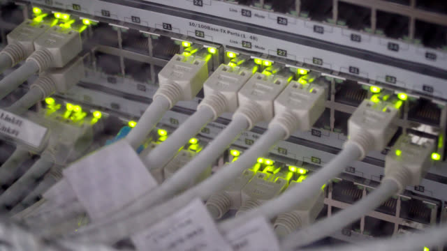 Connecting Cable And The LED Lights Blinks. The Internet Server And Server of Local Network Connecting Cable And The LED Lights Blinks. The Internet Server And Server of Local Network, 4k video server room stock videos & royalty-free footage